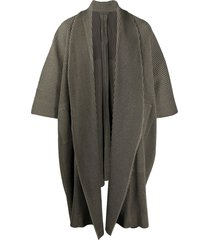 homme plissé issey miyake pleated draped coat - brown