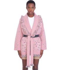 alanui cardigan in rose-pink cashmere