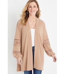 maurices womens solid crochet long sleeve cardigan beige