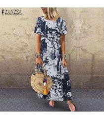 vestido camisero estampado floral zanzea para mujer vestido étnico vintage de verano -azul marino