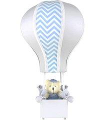 abajur balã£ozinho cintura urso chevron azul quarto beb㪠infantil menino - cinza - menino - dafiti