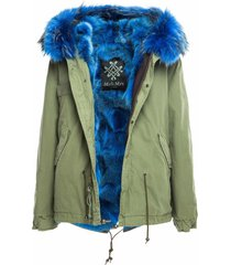 mr & mrs italy army mini parka with coyote fur