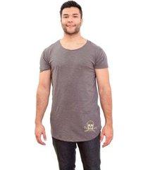 camiseta 4 ás manga curta caveira flamê longline masculina - masculino