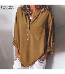 zanzea mujeres botones camisa casual tops llano elegante blusa de las señoras más del tamaño -amarillo