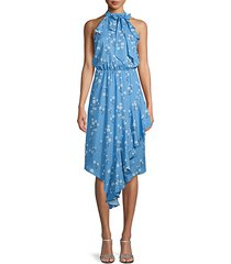 shasta daisy-print high-neck dress