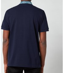missoni men's contrast collar pique polo shirt - navy - xl