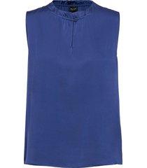 satin stretch - raya f blouse mouwloos blauw sand