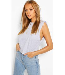 shoulder pad tank top, grey marl