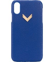 manokhi x velante embossed iphone xr case - blue