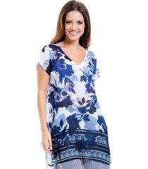blusa 101 resort wear tunica saida de praia decote v crepe estampada fendas azul