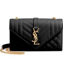 saint laurent small envelope calfskin leather shoulder bag - black