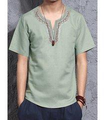 camiseta retro de lino y algodón de manga corta para hombres camiseta étnica casual con bordado playa