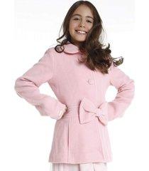 casaco lã laço removível gingga baby e kids rosa claro