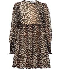 pleated georgette mini dress korte jurk bruin ganni