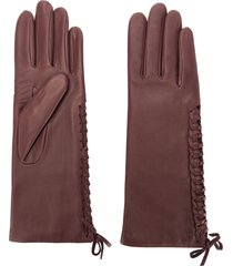 agnelle gloves with lace detail - red