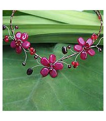 beaded choker, 'strawberry triplets' (thailand)