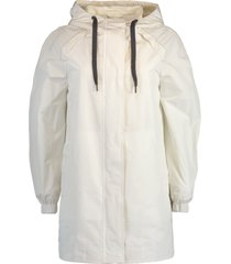 chalk hooded taffeta jacket