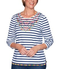 alfred dunner petite road trip striped embroidered embellished top