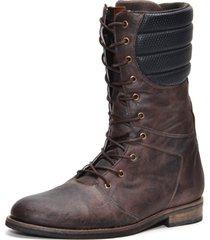 coturno masculino cano médio em couro shoes grand marrom 56300-1