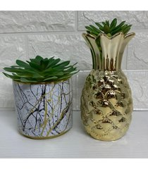 conjunto decorativo vaso abacaxi dourado e vaso marmorizado - dourado - feminino - dafiti