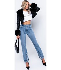 akira azalea wang fur trim giselle crop jacket in black