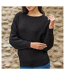 100% alpaca sweater, 'black dolman grace' (peru)