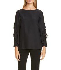 women's lafayette 148 new york alessia pleated detail silk blouse