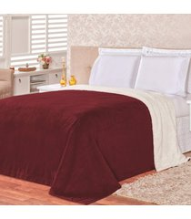 cobertor malmo vinho dupla face queen - tecido sherpa e manta microfibra - vinho - dafiti