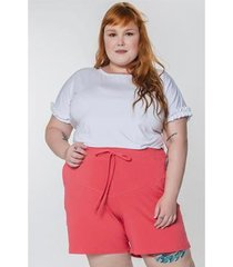 blusa manga fru fru kauê plus size feminina - feminino