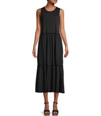 emma & michele women's tiered midi dress - black - size m
