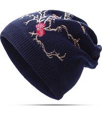 strass di lana delle donne plum ricami di strass caldi cappelli lavorati a maglia casuali beanie hat elastico