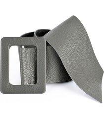 cinturón hebilla cuadrado gris mailea