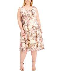 connected plus size floral-print midi fit & flare dress