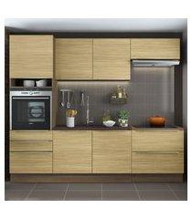 cozinha completa madesa lux com armário e balcáo 6 portas 5 gavetas - rustic/carvalho marrom
