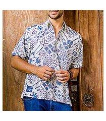 men's cotton batik shirt, 'island batik' (indonesia)
