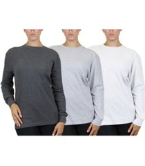 women's loose fit waffle knit thermal shirt, pack of 3