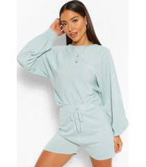 knitted oversized volume sweater and shorts co-ord, sage