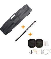 case maleta rígida para rifles airsoft espingardas (1014212) plano + kit de limpeza + bandoleira