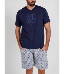 pyjama's / nachthemden admas for men pyjama t-shirt anclitas marine blauw adma's