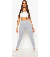 basic leggings met diepe hoge taille, grijs gemêleerd