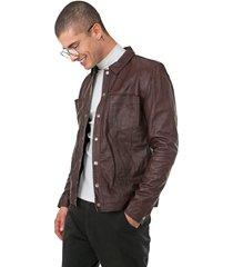 jaqueta couro calvin klein jeans recortes marrom - kanui