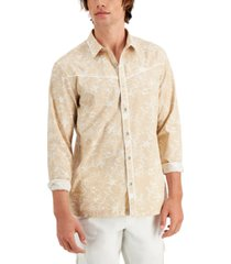 inc international concepts men's regular-fit piped floral-print shirt, created for macy's