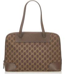 gucci gg canvas shoulder bag brown, dark brown sz: m