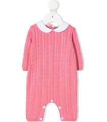 little bear cable-knit bodysuit - pink