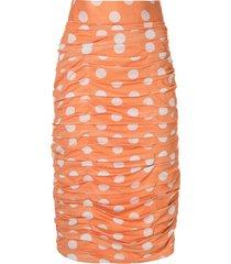 bambah polka dot ruched skirt - orange