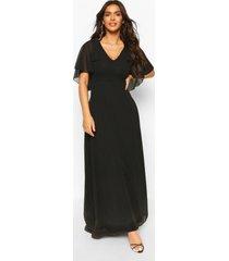chiffon maxi bruidsmeisjes jurk met mantelmouwen, black