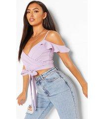 crepe cold shoulder wrap top, lilac