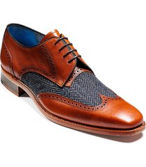 handmade men wingtip shoes, brown leather and tweed shoes, dress shoes for men