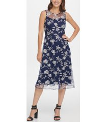 dkny embroidered midi fit & flare dress