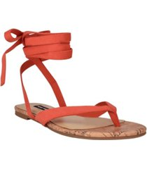 nine west women's tiedup tie-up flat thong sandals women's shoes